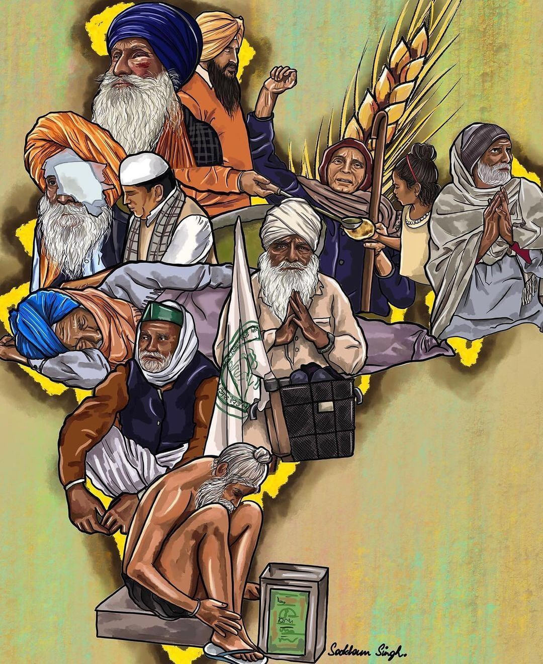 Sikhexpo Com S Instagram Profile Post Beautifully Impactful Art By Sookham Singh For The Farmersprotest Happening Th Farmers Day Protest Art India Poster