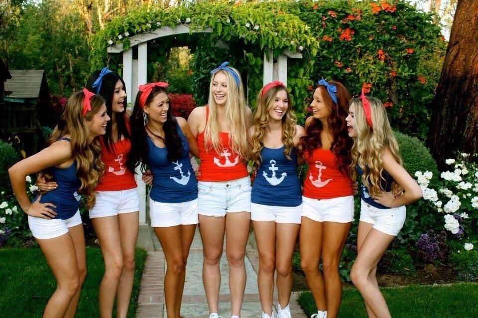 6550b30dd99 easy group dress-up idea. Americana theme. Red and blue bandanas ...
