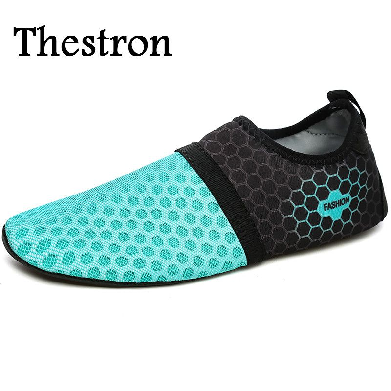 Thestron Outdoor Water Shoes Mens New Mesh Women's Shoes In The Water Portable Swimming Trainers For Men Blue Women Beach Shoes
