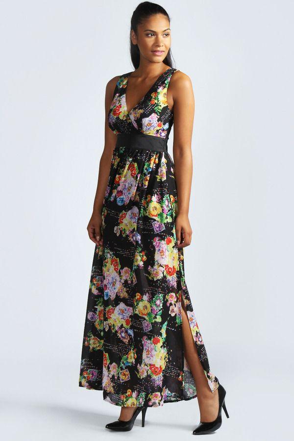 2d146c76dc5 Boohoo Jordan Dark Florals Plunge Chiffon Print Maxi Dress on shopstyle.com
