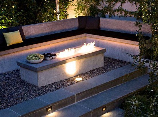 Small Rectangle Outdoor Patio Ideas With Fire Pit Design