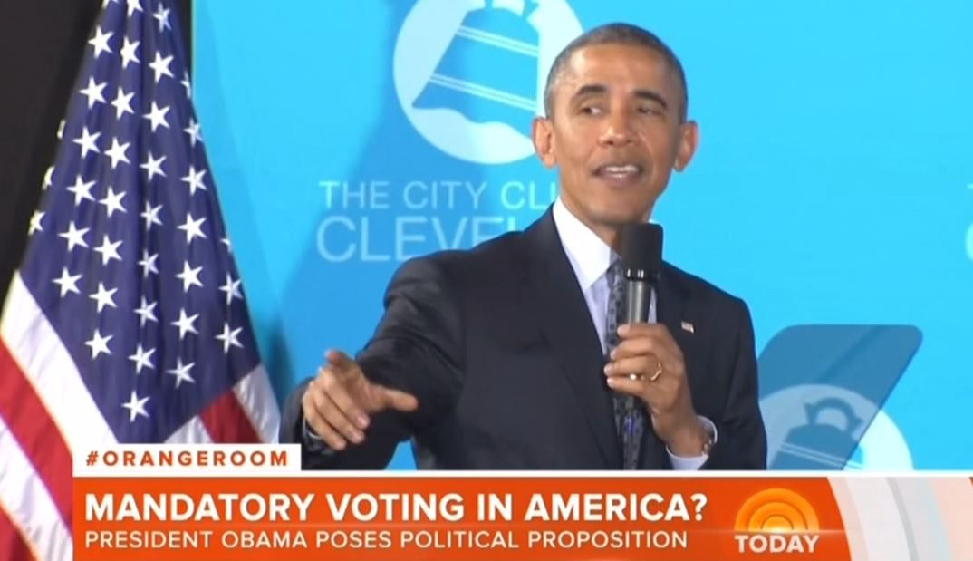 "Thursday's NBC Today seized on President Obama's seeming advocacy for mandatory voting in the United States during a town hall event on Wednesday, with fill-in news anchor Tamron Hall declaring: ""The President said the U.S. should be making it easier to vote, not harder. He says if everyone voted, it would completely change the political map."""