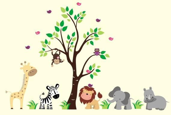 Nursery Wall Decal Zoo Animal Decals Jungle Animal Stickers Baby Room Decor Baby Room Decals Animal Wall Decals Nursery Wall Decals Kids Room Wall Stickers