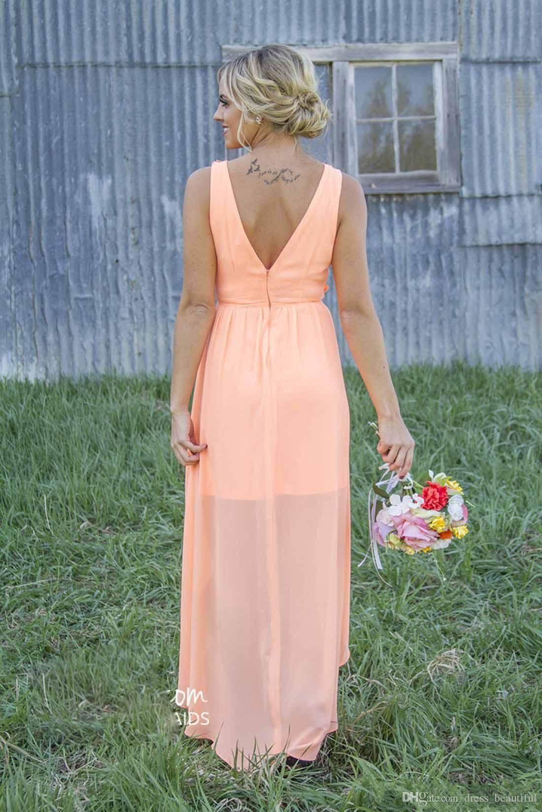 New 2016 mint orange country bridesmaid dress under 100 hi lo new 2016 mint orange country bridesmaid dress under 100 hi lo chiffon maid of ombrellifo Image collections