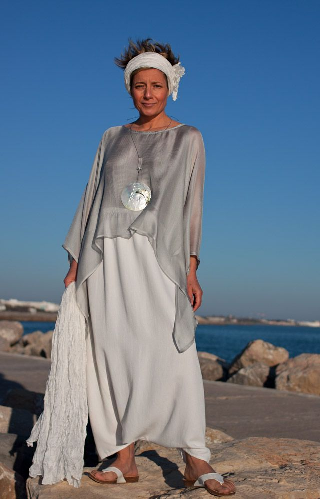 loose fit: Ice blue veil silk tunic and mixed linen harem pants.