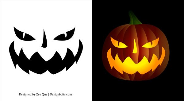 free printable scary halloween pumpkin face carving stencils