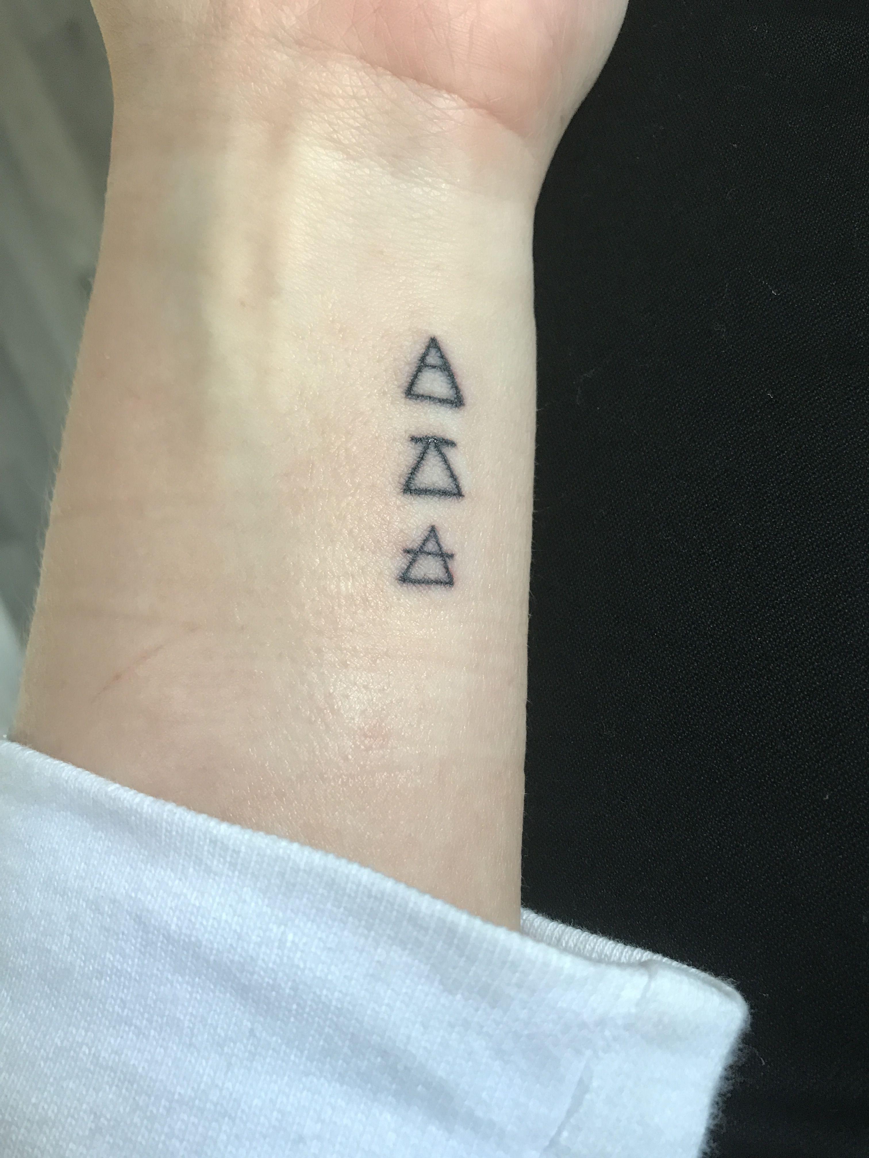 Explore. Challenge. Transcend. Triangle glyphs. Small wrist tattoo ...