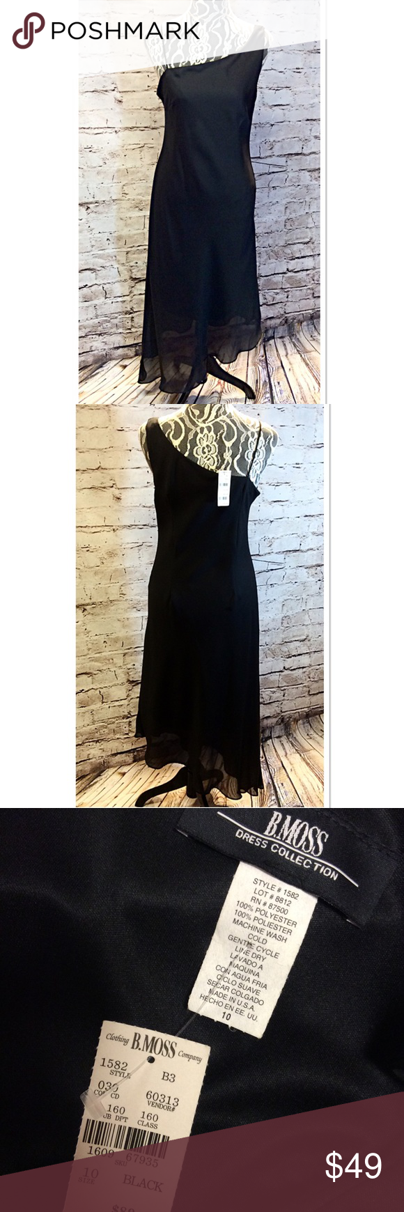 NWT B. MOSS 1 SHOULDER ASYMMETRICAL LITTLE BLACK Beautiful dress NWT in black. Asymmetrical hem with a wide shoulder strap on one side and a spaghetti strap on the other. Very classy and elegant for many occasions B. MOSS Dresses Asymmetrical