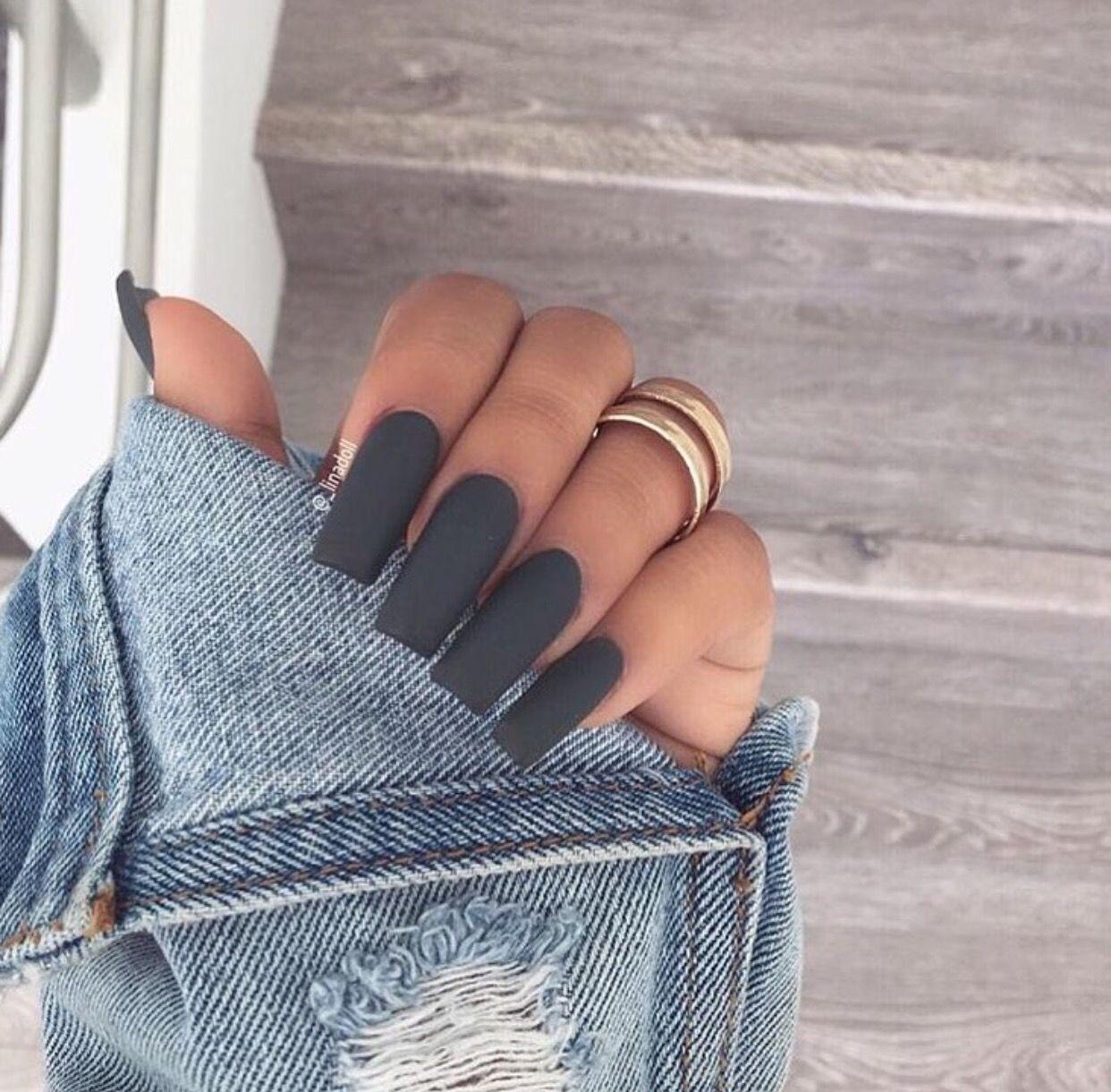 Matte Grey Nail Inspiration Perfect Nails Gorgeous Nails Fake Nails