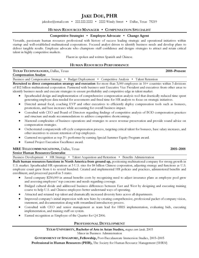 Human Resources Resume Sample Hr Resume  Life  Job Helps  Pinterest  Executive Resume