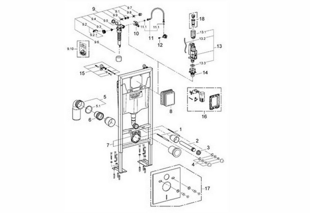 grohe 38340001 bati support rapid sl pour wc suspendu. Black Bedroom Furniture Sets. Home Design Ideas