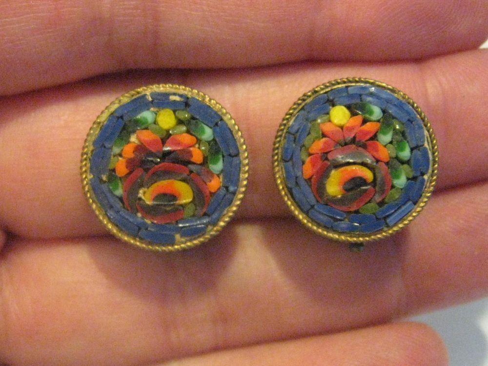 Vintage Round Red Roses Blue Background Clip Earrings Micro Italian Mosaic Italy