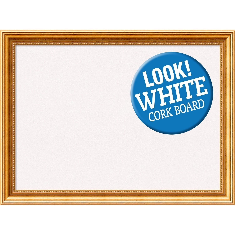 Amanti Art Framed White Cork Board, Townhouse Gold (panel - 34 x 16 ...