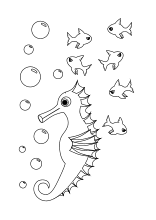 seepferchen schwimmt mit fischen   ausmalbilder fische