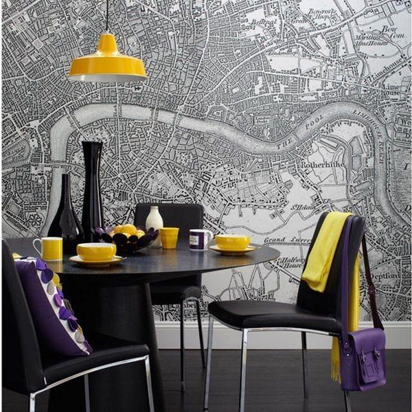 Carta da parati con mappe   Idea di decorazione, Design ...