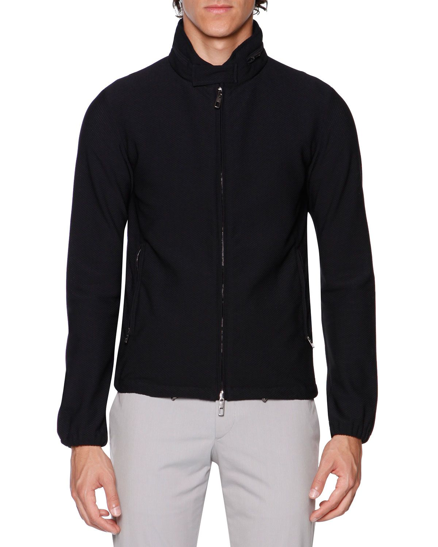 Giorgio Armani Waffle-Knit Zip Bomber Jacket, Black