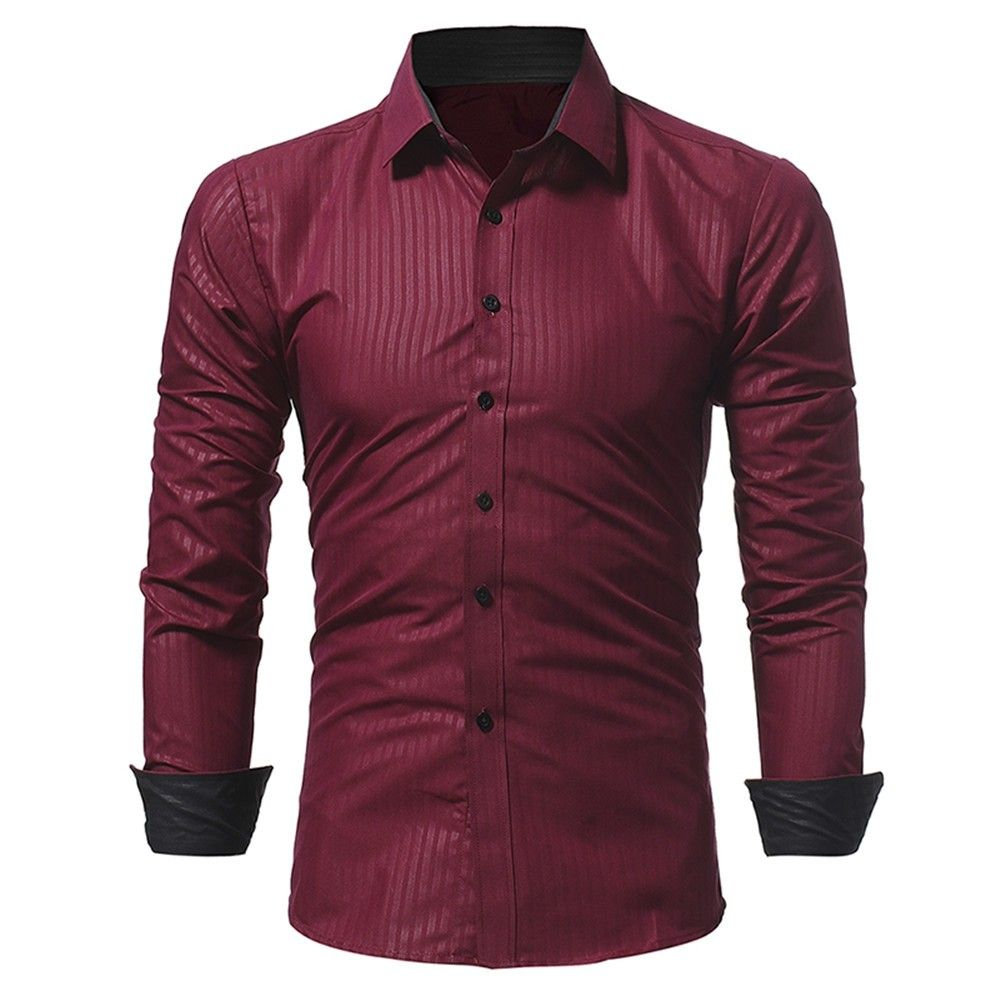 New Classic Dark Striped Embossed Men S Casual Slim Long Sleeved Shirt Red Wine 3e79957522 Size M Casual Long Sleeve Shirts Slim Shirts Slim Fit Men [ 1000 x 1000 Pixel ]