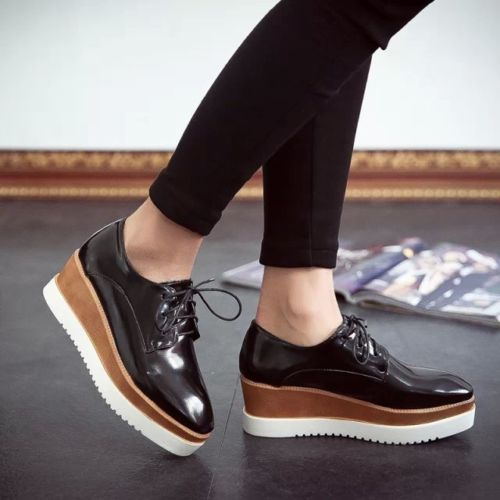 New Womens Square Toe Lace Up Platform