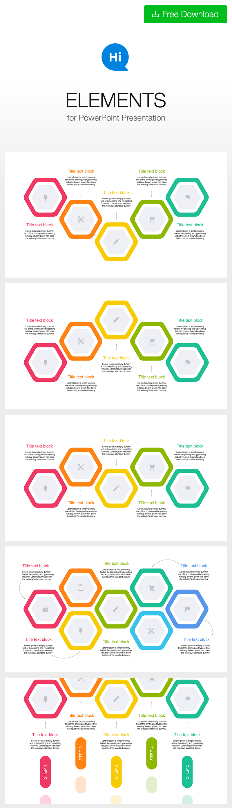 Hexagon Diagram 5 Step For Powerpoint Design Inspiration Each Of The Elements Is Created As A Polygon Infographic Ppt Dowload Free Https