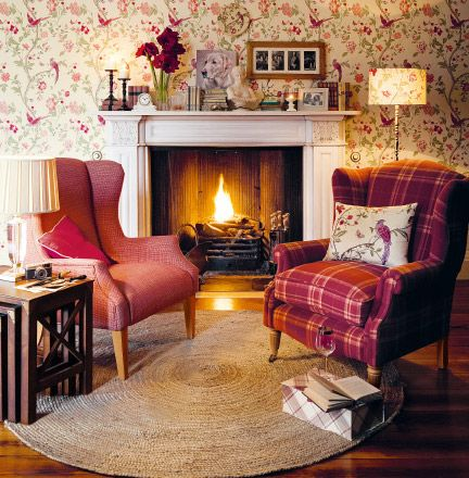 Cozy Laura Ashley Living Room Great Use Of Red Colorway Plaid Against Floral Wallpaper