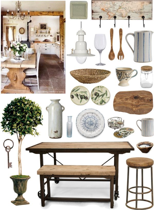 Rustic mediterranean by ladomna on polyvore top interior design looks pinterest for Rustic mediterranean interior design