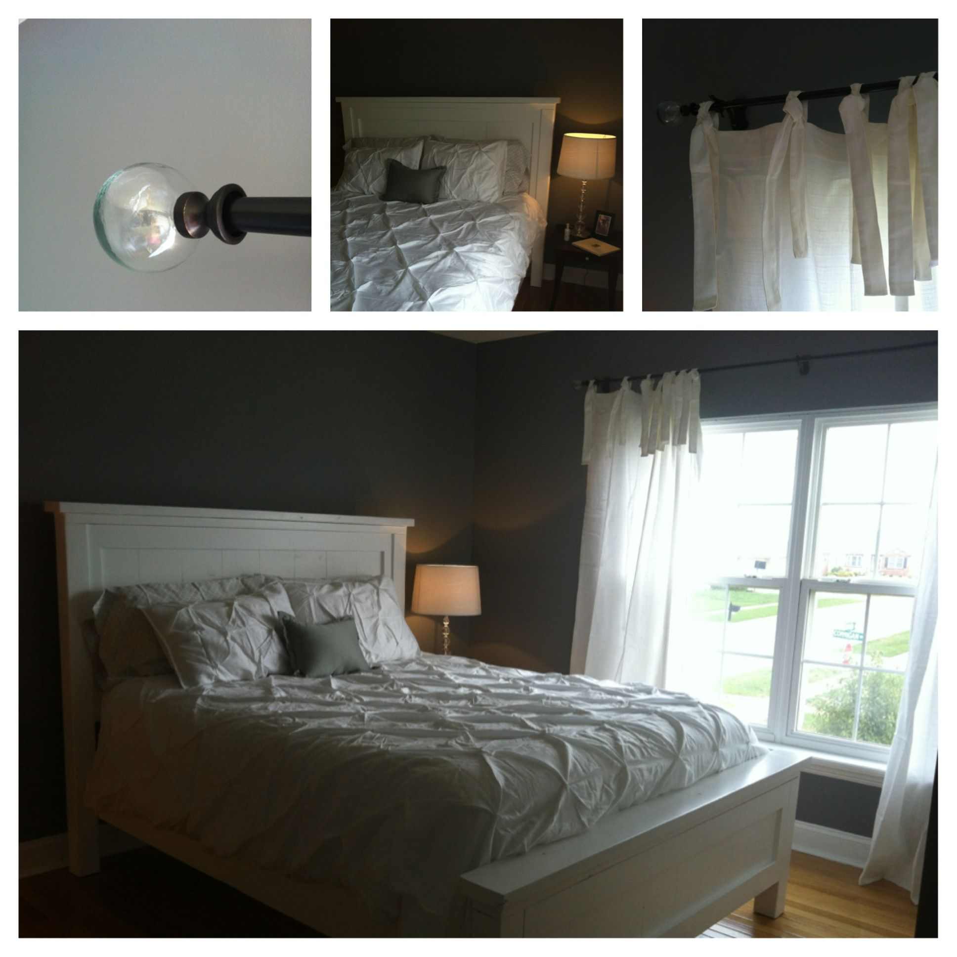 Bed built from farmhouse plans on drapes and