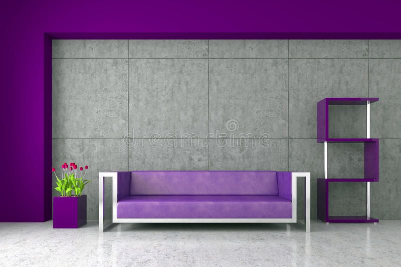 Modern Interior With Purple Sofa Tulips And Concrete Wall Sponsored Ad Paid Interior Concre In 2020 Modern Interior Interior Infographic Design Inspiration