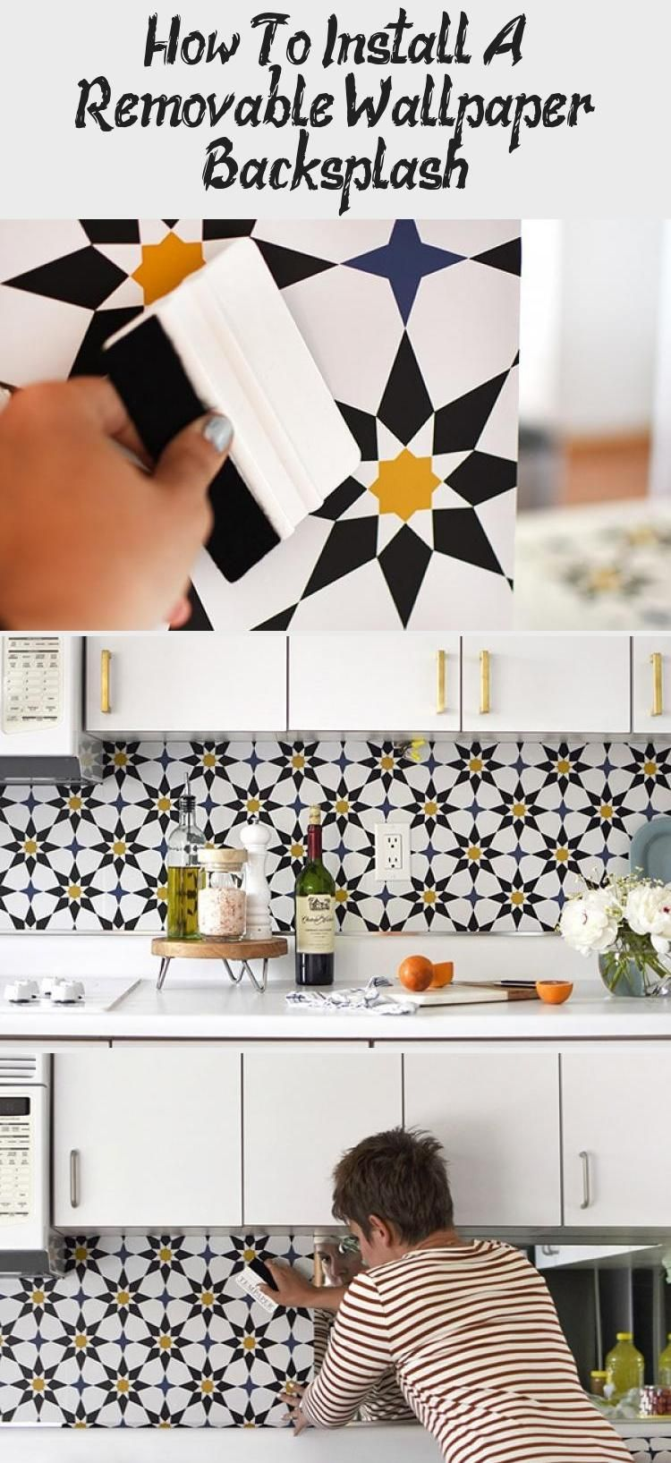 Learn How To Completely Transform Your Kitchen By Installing A Removable Wallpaper Backsplash It Is Removable Wallpaper Backsplash Kitchen Backsplash Designs