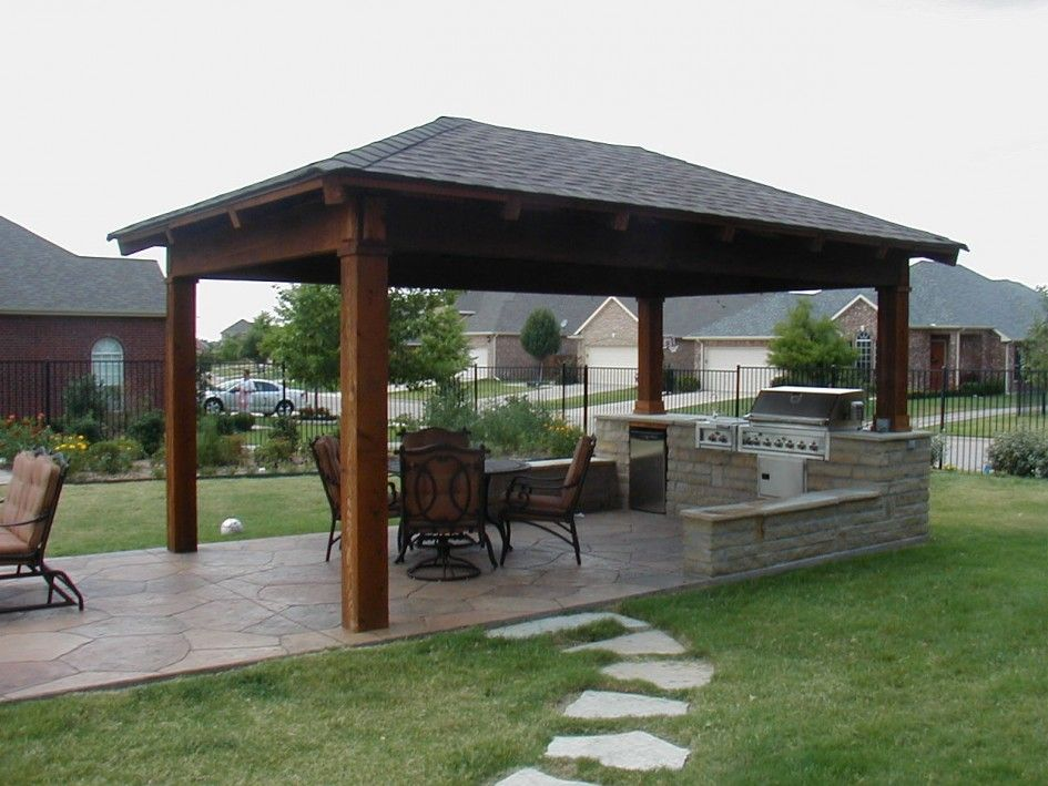 Striking Outdoor Kitchen Island Cover Using Wooden Gazebo With Slate Roof And Wrought Iron Patio Chair Backyard Pavilion Small Outdoor Kitchens Backyard Patio