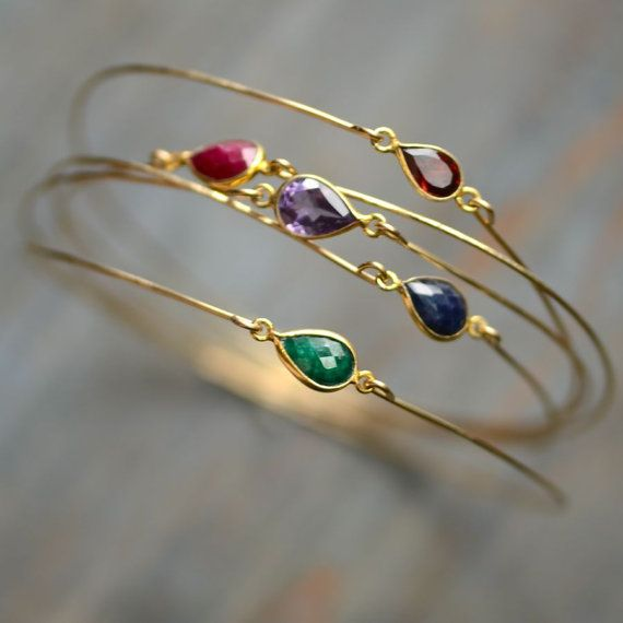 Items similar to Gemstone Bangle Bracelet 14kt Gold Fill on Etsy