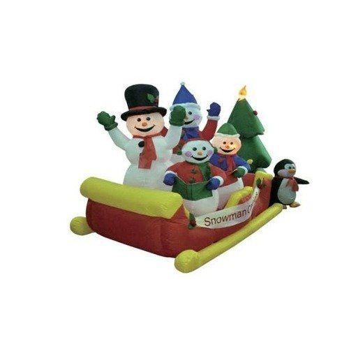 BZB Goods 8\u0027 Long Christmas Inflatable Snowmen Family on Sleigh