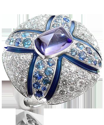 Mathon-Paris Samarcande ring White gold Diamonds Sapphires Tanzanite Enamel