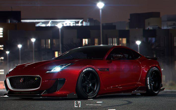 Night Supercars 2015 Jaguar F Type R Coupe Parking Red Jaguar