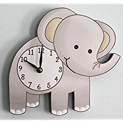Elephant Nursery Clock Wooden Wall For S Bedroom Baby