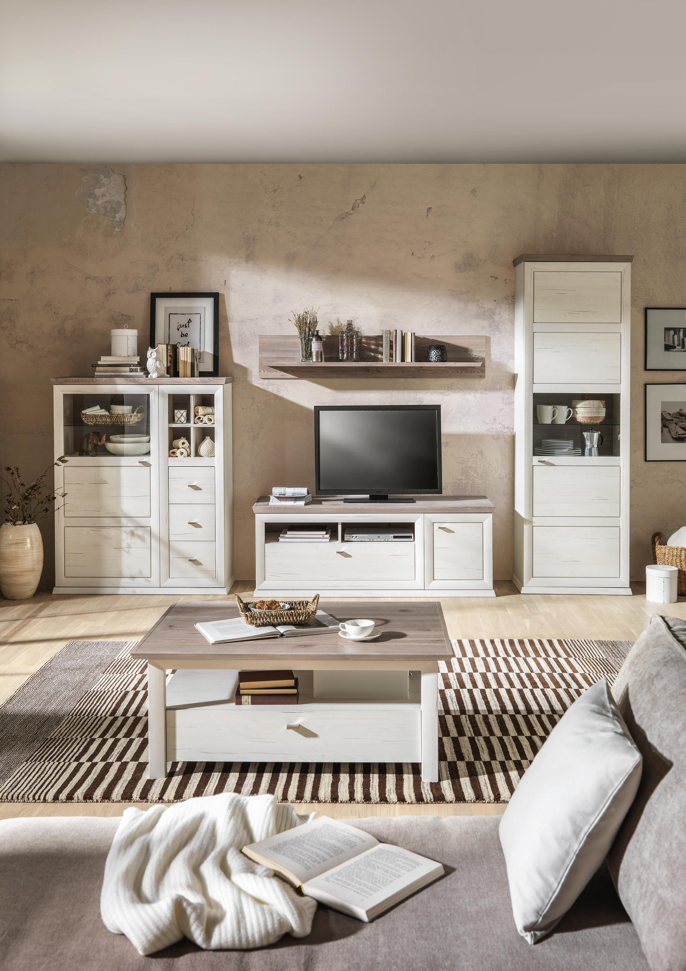Wohnwand In Grau Weiss Kieferfarben Online Kaufen Xxxlutz Schlafzimmer Diy Wohnwand Wohnen
