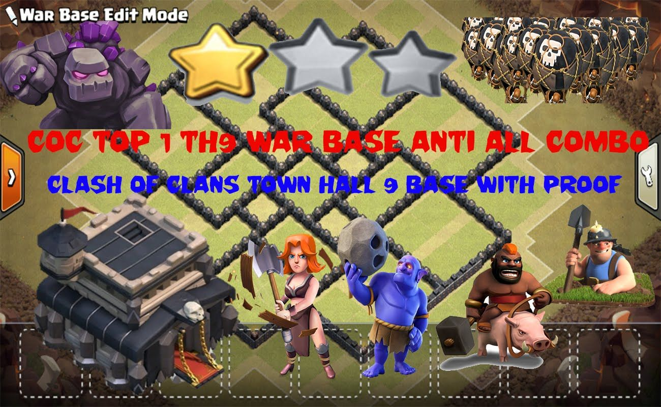 Coc top 1 th9 war base anti all combo clash of clans town hall 9 coc top 1 th9 war base anti all combo clash of clans town hall 9 base stopboris Images
