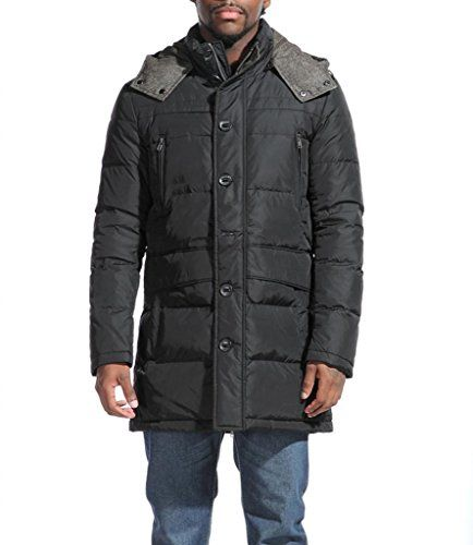 Premium Mens's Mid-Length Down Filled Feather Quilted Hooded Coat