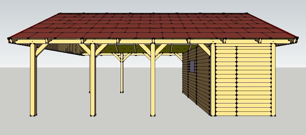 carport 6 x 8 meter mit satteldach und ger teschuppen aus. Black Bedroom Furniture Sets. Home Design Ideas