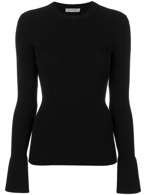 GABRIELLE'S AMAZING FANTASY CLOSET | Sportmax Black, Fitted Ribbed-Knit Sweater with a Crew Neck and Long Sleeves that Cover Your Hands.  I'm showing it with a Pleated Black Floral Silk Mini-Skirt. You can see the Whole Outfit and my Remarks on this board. - Gabrielle