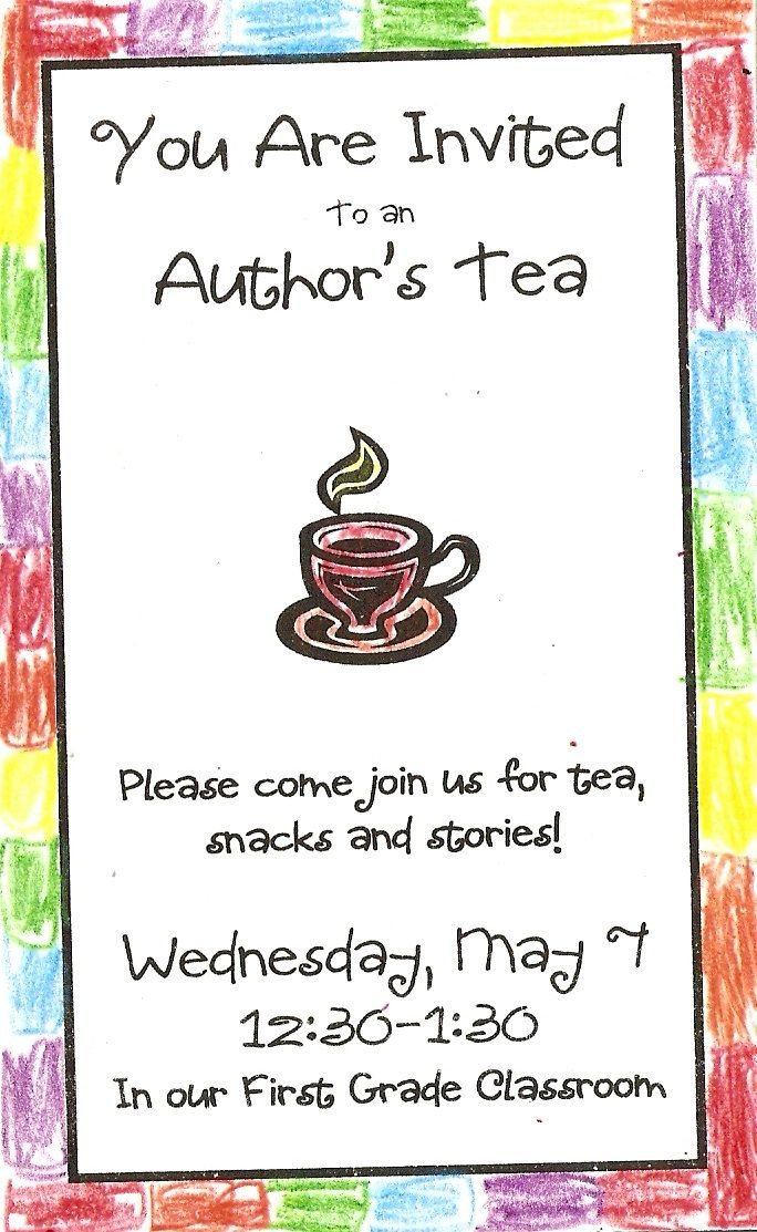 Authors Tea sample invite Authors Tea Pinterest Authors - invitation event sample