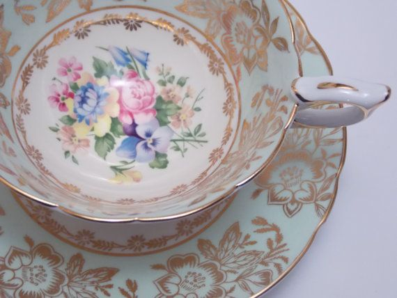 Royal Stafford Fine China Tea Cup and Saucer by TheVintageFind1, $58.00
