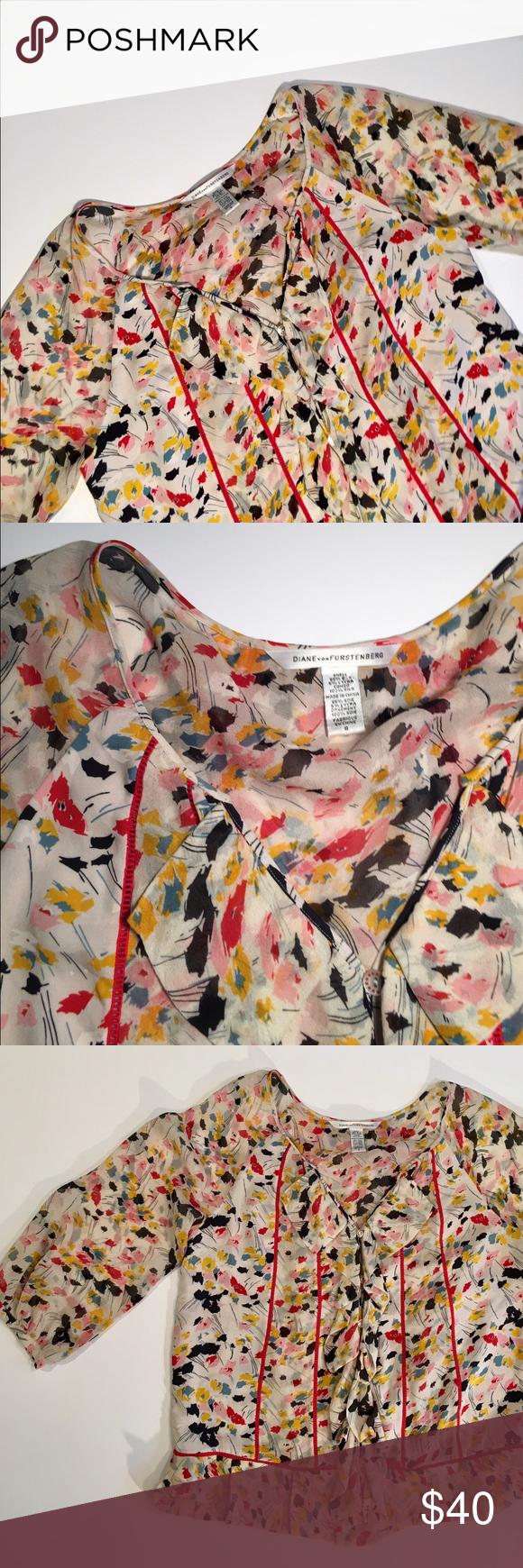 Diane von Furstenberg Silk Ruffle Front Top ✔️Excellent Condition ✔️Silk ✔️Ruffle Front/Button Down ✔️3/4 Puff Sleeve Diane von Furstenberg Tops Blouses