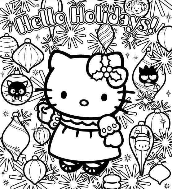Coloriage hello kitty et les decorations de noel christmas coloring hello kitty colouring - Kitty noel coloriage ...