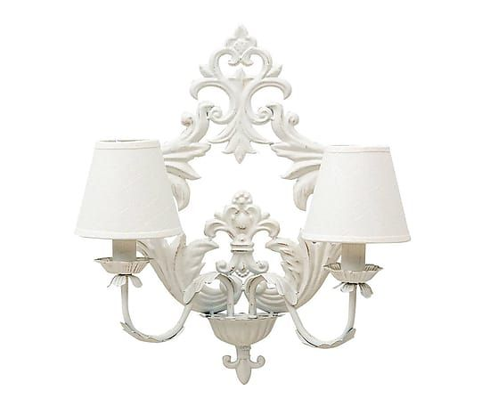 Applique da parete in metallo e cotone a 2 luci baroque 50x54x24