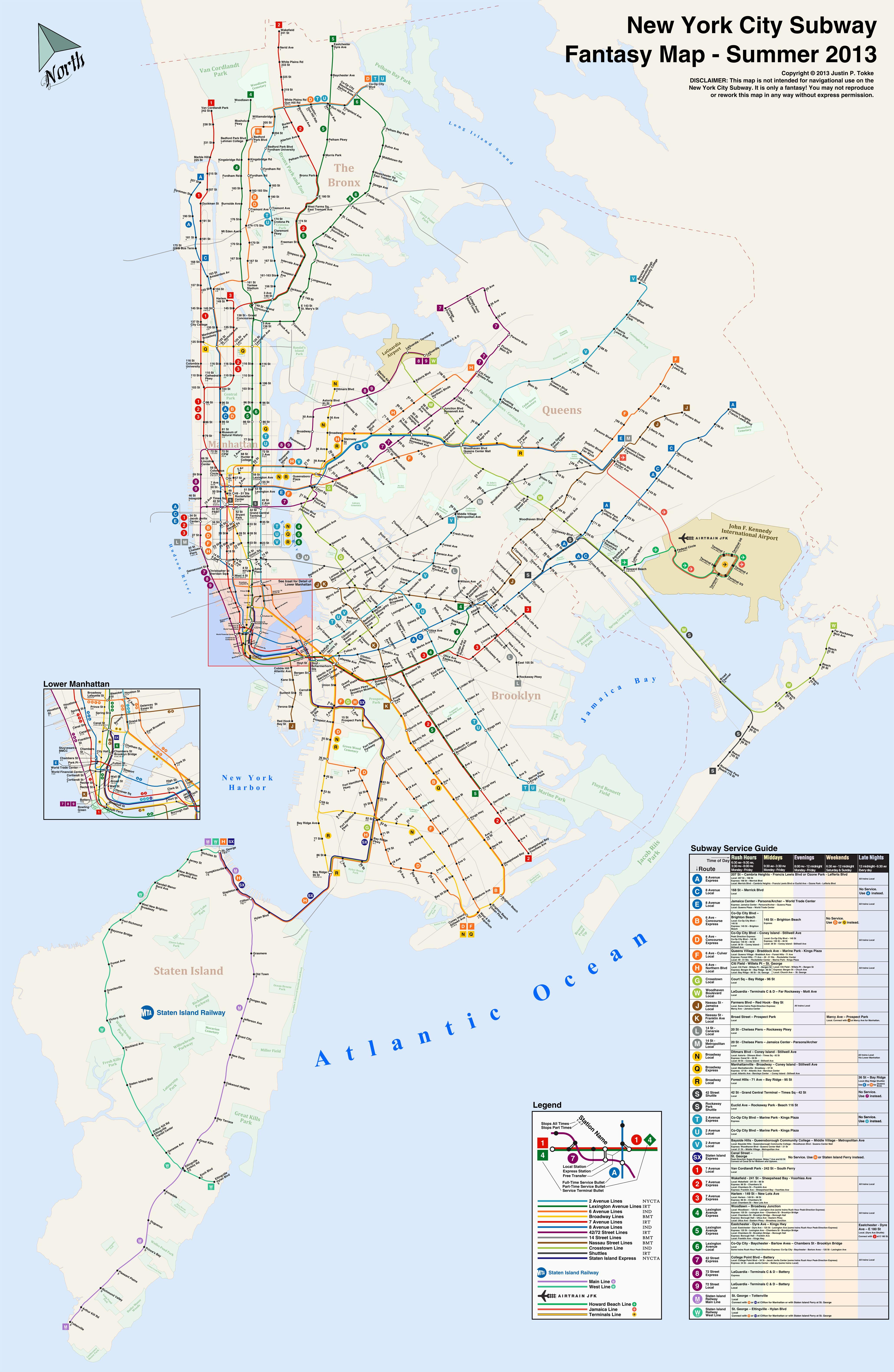 Fantasy New York Subway Map.Subway Fantasy Map 2013 Edition New York City Transit Fantasy