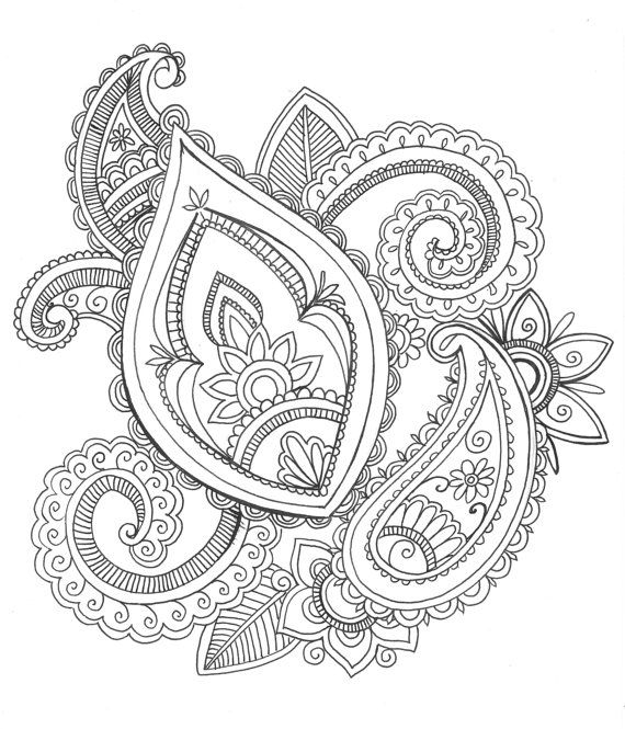 8x10 Art Print Henna Style Paisley Design Ink By Printsperfect 2500