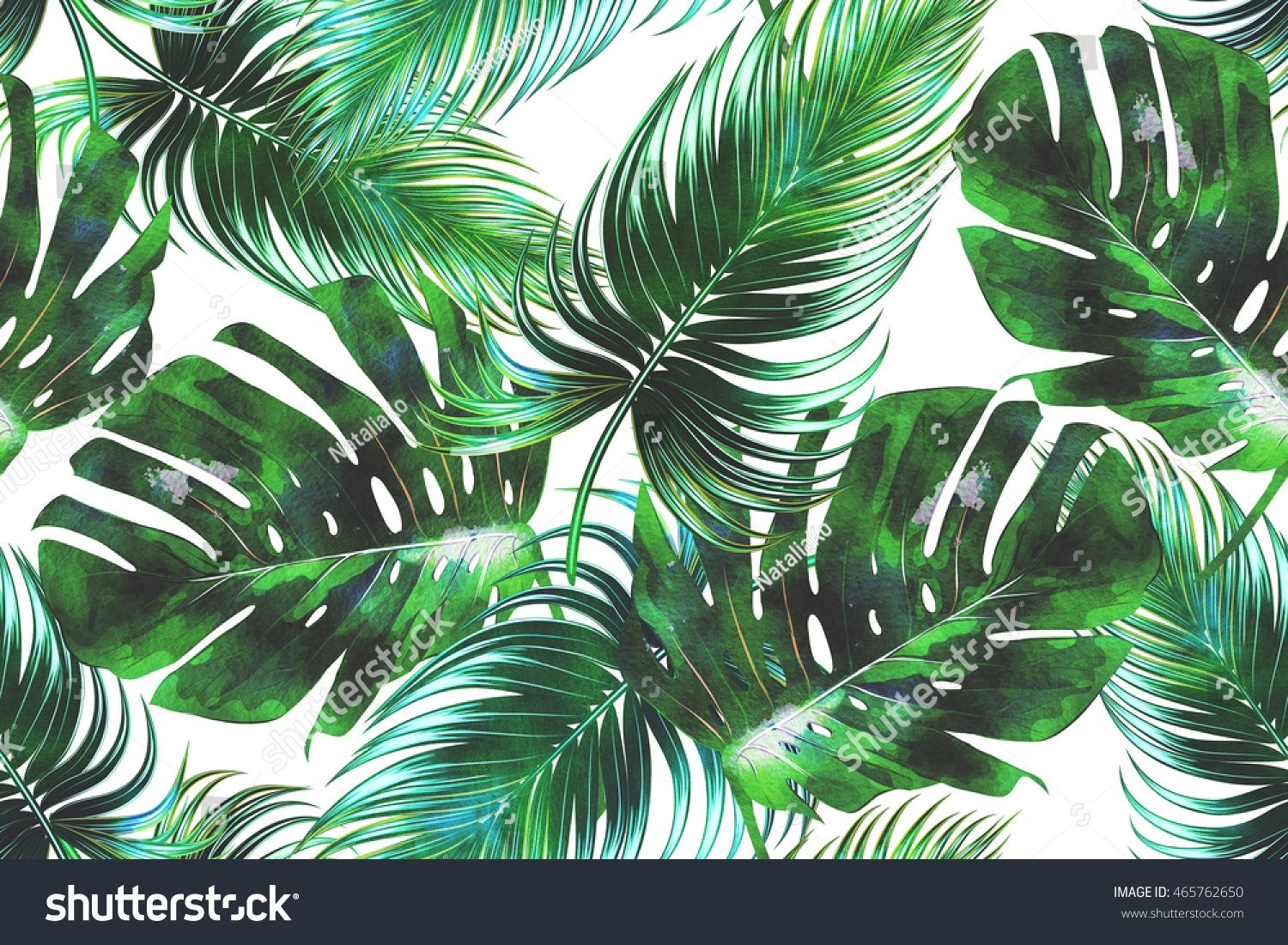 Tropical Palm Leaves Jungle Seamless Watercolor Floral Pattern