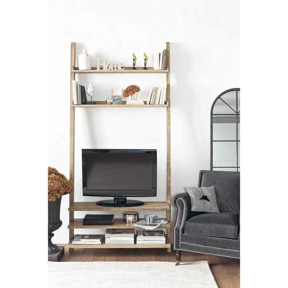Recycled Wood Tv Shelf Unit W Varenne Lounge Pinterest  # Etagere Tv Bois