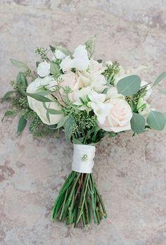 White & Blush rose nosegay