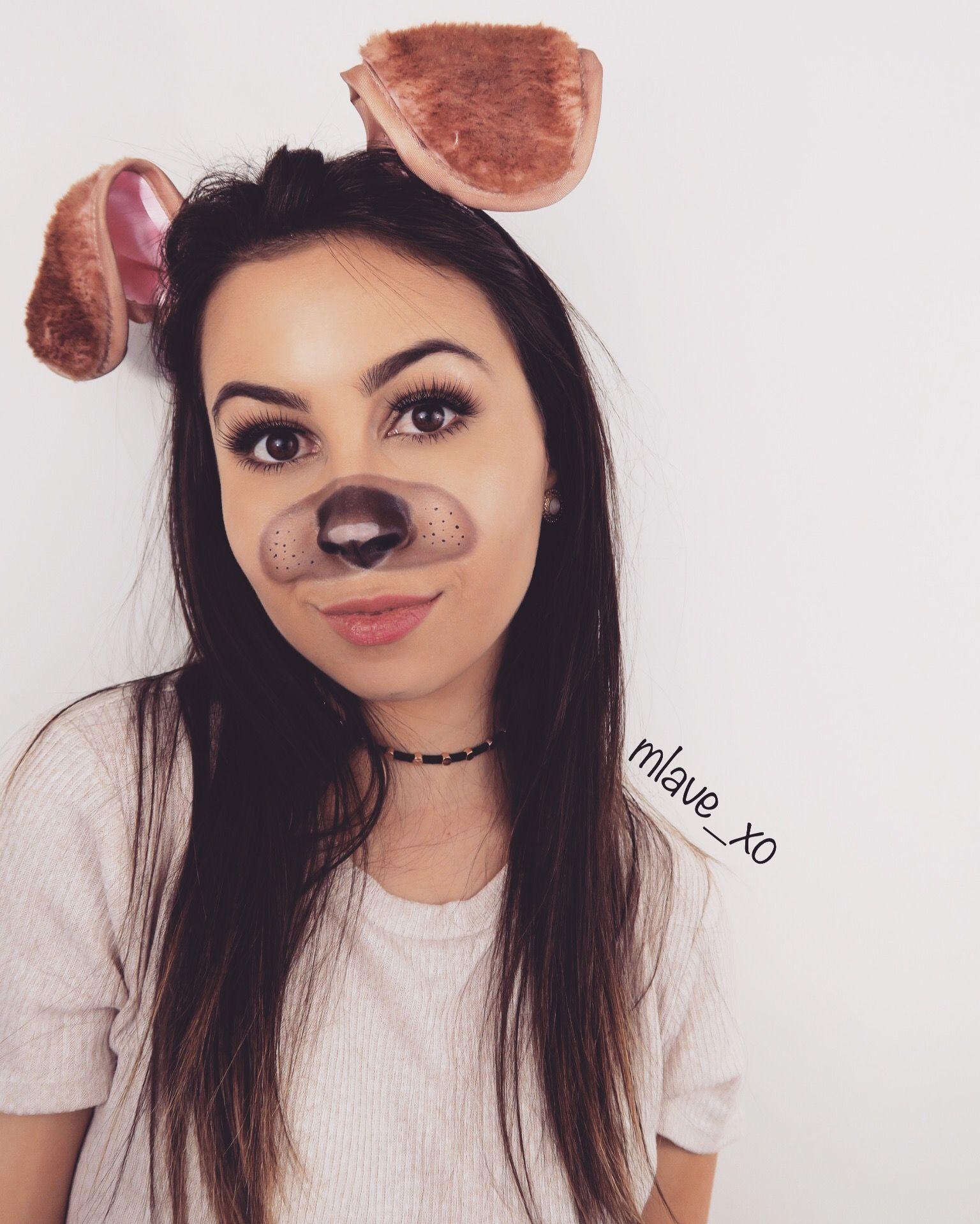 Snapchat Dog Filter Halloween Makeup And Diy Dog Ears Dog